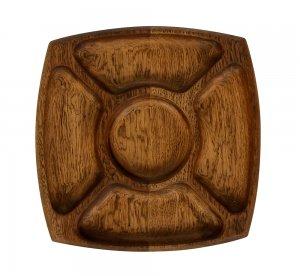 Менажница деревянная 5 отделений 245х245 мм дуб
